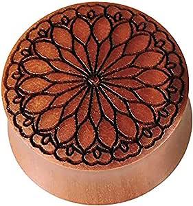 Dilatatore in legno marrone di sawo, con incisione nera, fiore tribale, dilatatore in legno organico con doppia svasatura, per orecchio, unisex, piercing per il lobo