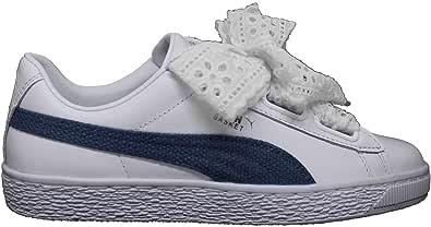 PUMA - Basket Heart Denim Bianco Sneakers Basse Scarpe Donna - 37, Bianco