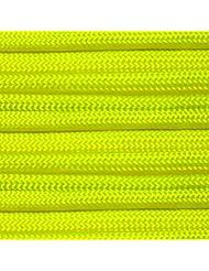 Paracord 550 100 ft 30 m | Ideal para el aire libre, el camping, el jardín o trenzar pulseras | Cuerda de paracaidismo (neón verde)