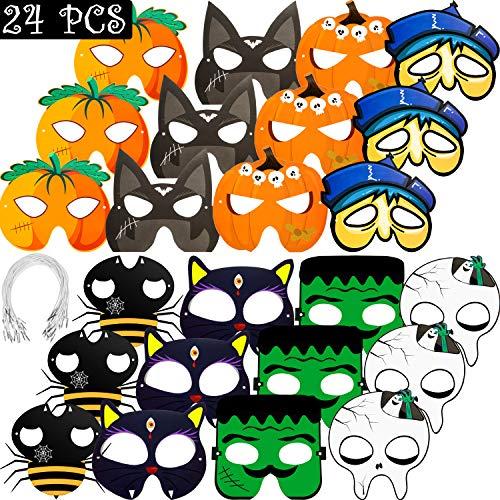 Gejoy 24 Stücke Halloween Papier Maske Bastelsets Masken für Halloween Party Dekorationen, Halloween Kürbis Papiermaske Neuheit Ankleiden Party Zubehör