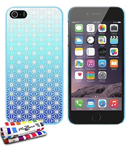Ultraflache weiche Schutzhülle APPLE IPHONE 5S / IPHONE SE [Asanoha blau] [Blau] von MUZZANO + STIFT und MICROFASERTUCH MUZZANO® GRATIS - Das ULTIMATIVE, ELEGANTE UND LANGLEBIGE Schutz-Case für Ihr AP Lagunenblau