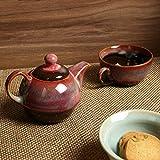 #8: ExclusiveLane 'Kettle-Cup Of Maroon Dusk' Studio Pottery Glazed Tea Set In Ceramic - Ceramic Tea Kettle Tea Pot Kitchen Storage Table Top Coffee Pot Tea Set With Kettle