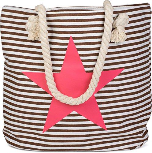 Weiß Koralle Optik Shopper Weiß Marine styleBREAKER Schultertasche in Strandtasche Farbe Streifen mit Stern Damen Braun Pink 02012037 aw4Ztq