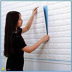 Idea Regalo - Carta da Parati Mattoni Bianco 3D, Kasliny parete smontabile e bastone adesivo per parete in PE a schiuma per ufficio di casa di soggiorno (bianca onda 5 pezzo)