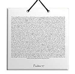 """Wood MDF tile wall hanging Wandbehang aus MDF-Holzfliesen English Psalms chapter 37 TEHILLIM תהילים""""I was young, I also aged, and I have not seen a righteous man forsaken and his seed seeking bread."""""""