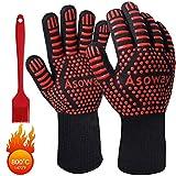 Guanti per barbecue, guanti estremamente resistenti al calore per forno, cucinando ,grigliate , cottura al forno , guanti da cucina per barbecue con dita , silicone resistente 1472*F/800*C resistenza.
