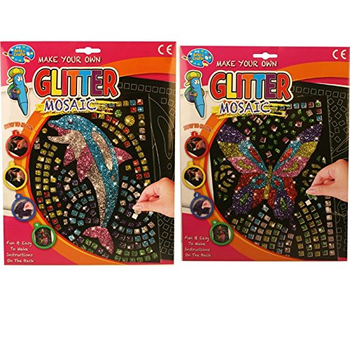 Make your own glitter mosaic twin pack dolphin and butterfly