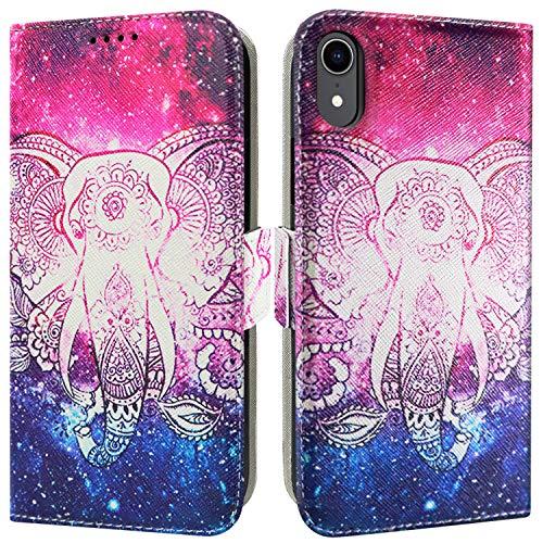 ZUSLAB Handyhülle iPhone XR Hülle 2018 mit Tiermuster Leder Brieftasche Hülle mit Karten Steckplätzen, Kartenfach, Standfunktion Magnetverschluss - Elefant