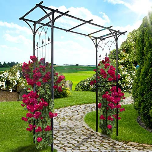 Arco per Rose | 151x204x51cm, Acciaio, Nero | Arco Decorativo da Giardino, Supporto per Piante e Fiori Rampicanti, Sostegno per Rose