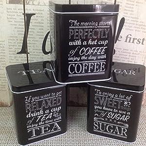 Alice de la collection–Ensemble de café, sucre et thé Boîtes en métal