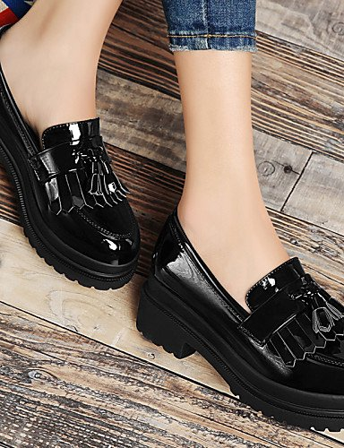 ZQ gyht Damenschuhe - High Heels - B¨¹ro / Kleid / L?ssig - Lackleder - Blockabsatz - Abs?tze / Creepers - Schwarz / Rot red-us6 / eu36 / uk4 / cn36