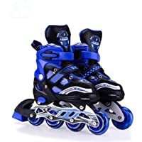 Hebrik™ Inline Skates L (38-43) Size Adjustable All Pure PU Wheels with Aluminum-Alloy which is Strong with LED Flash Light on Wheels. (Age Group 6 -14 Years). (Blue)