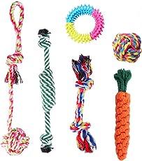 Hundespielzeug, 6 Stück Kauspielzeug Hund Spielzeug Set Baumwollknoten Spielset Seil Interaktives Spielzeug für Hunde