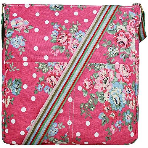 Miss Lulu , Damen Umhängetasche Rosa Pink (Dot Rosa Tasche Polka)