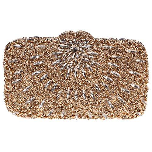 Damen Clutch Abendtasche Handtasche Geldbörse Glitzertasche Strass Kristall Einfach Tasche mit wechselbare Trageketten von Santimon(3 Kolorit) Gelb