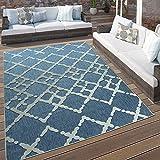 Paco Home In- & Outdoor Terrassen Teppich Modernes Zick Zack Muster Blau Weiß, Grösse:120x170 cm
