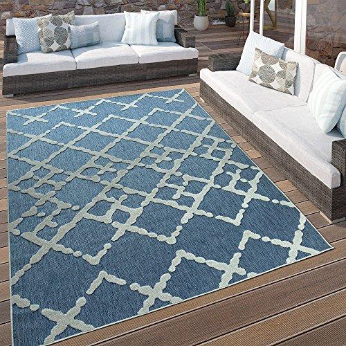 Paco Home In- & Outdoor Terrassen Teppich Modernes Zick Zack Muster Blau Weiß, Grösse:120x170 cm - Blauer Teppich Outdoor Teppiche