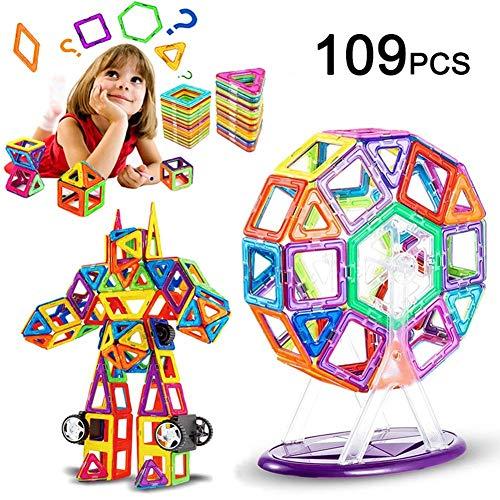 LIVEHITOP 109 PCS Magnetische Bauklötze Set, Magnet Bausteine Konstruktion Blöcke DIY 3D Pädagogische Spielzeug Geburtstag Kindertag Geschenk für Kinder mit Riesenrad Auto Räder (109 Teile) -