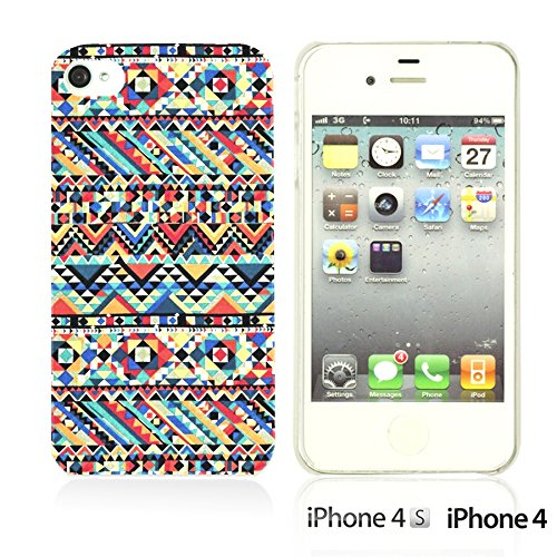 OBiDi - Geometrical Pattern Hardback Case / Housse pour Apple iPhone 4S / Apple iPhone 4 - Funny Tribal Print Funny Tribal Print