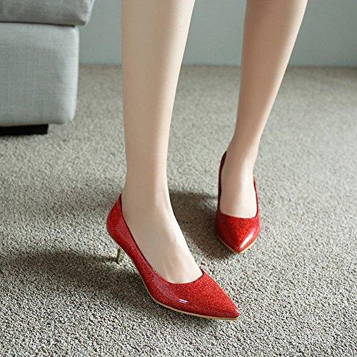 Mee Shoes Damen high heels ohne Verschluss spitz Pumps Rot d6EcAq
