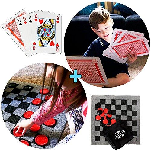 Preisvergleich Produktbild Elite Sportz Jumbo Dame Teppich-Spiel, große Spielkarten und Tic Tac Toe in einem. 3 Jumbo Spiele, welche die Kinder für Stunden beschäftigen – sie werden es lieben! Inklusive strapazierfähige ZipUp-Tragetasche für die Aufbewahrung