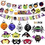 PUZ Toy Halloween Party Décorations Bannières Halloween Decoration pour Enfants Masque Halloween Masque Super-héros Batman Spiderman Lanterne Papier - 24 PCS