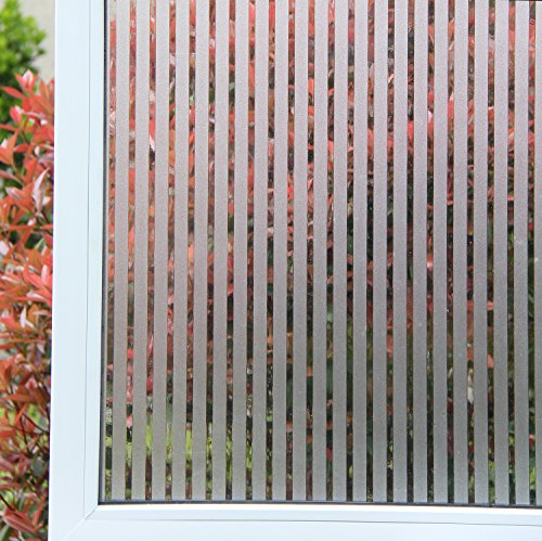 Concus-T Statique Adhérence Sans Adhésif Motif Rayure Autocollant Fenêtre Film Anti-UV Vitrage Dépoli Adhérence Vinyle Premium Décoratif Rayures Givrées Privacy Fenêtre Film 60cmx200cm