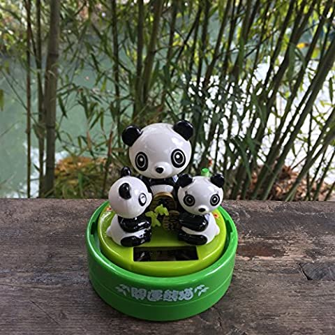 Cute Panda gift, ABS Environmental Plastic Solar Bobble Head Panda Family Car Decoration Desk Home Office Decoration Birthday Holiday Valentine's Day Gift Lovely Panda