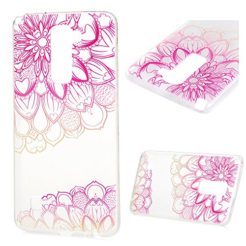 MAXFE.CO TPU Silikon Hülle für LG Stylo 2 Stylus2 LS775 Handyhülle Schale Etui Protective Case Cover Rück mit Diagonale Blumen Skin Silikon Stereo Lithographie Design