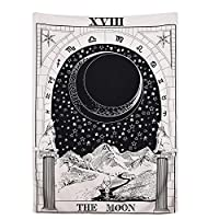 Amknn Tarot Card Tapestry Tarot The Moon Medieval Europe Divination Tapestry Wall Hanging Tapestries Mysterious Home Decor (150x130cm, The Moon Tapestry)