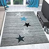 Teppich Modern Design Schwarz Grau Türkis Kurzflor Sternenmuster - Pflegeleicht und Top Qualität, Maße:80x150 cm
