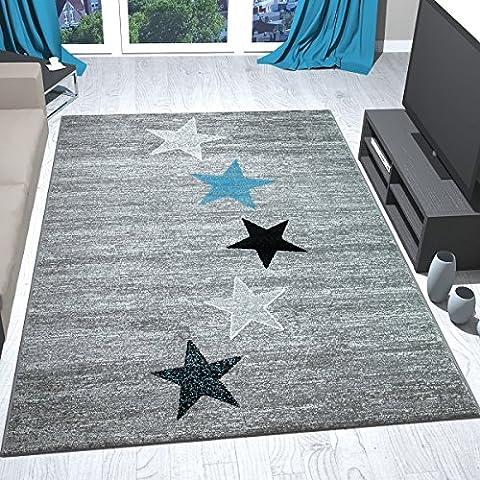 Teppich Modern Design Schwarz Grau Türkis Kurzflor Sternenmuster - Pflegeleicht