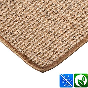 casa pura Sisal Stair Treads   Cork Stair Pads – Rectangular 15 Piece Set (23.5 x 65 cm)   Environmentally Friendly Stair Carpet With Adhesive Pads   Sylt Collection