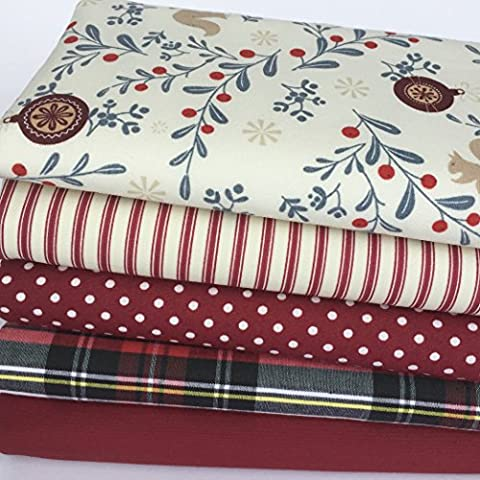 Always knitting and sewing Christmas fat quarter bundles 100 % cotton fabric (Christmas bundle 6)