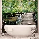 Wald Wasserfälle Fluss Weg- Forwall - Fototapete - Tapete - Fotomural - Mural Wandbild - (1995WM) - XXXL - 416cm x 254cm - VLIES (EasyInstall) - 4 Pieces