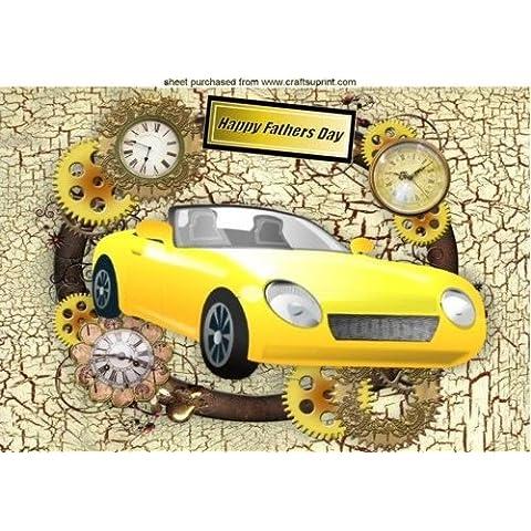 Giallo Auto Sportiva in Stile Steampunk cornice per papà A4da Nick Bowley