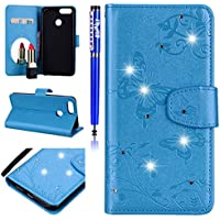 EUWLY Lederhülle Huawei Honor 7X Handyhülle Bling Glitzer Strass 3D Schmetterling Blumen Bookstyle Schutzhülle Brieftasche Wallet Flip Case Cover Leder Tasche Klapphülle,Blau