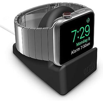 Orzly - Night-Stand pour Apple Watch NOIR - Station de Charge mode Nightstand - Station d'accueil - Support Bureau Compact HQ Compatible Apple Watch 38 mm / 42 mm / 40mm / 44mm- Avec fente pour dissimuler votre câble de chargement