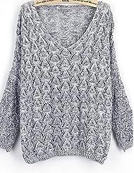 Erica Normal Pullover Femme Sportif simple,Couleur Pleine Bleu / Rouge / Marron / Gris Col en V Manches Longues Coton Automne Moyen Elastique