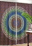 indischen Mandala Vorhang, dekorative Fenster Drapes, Bohemian Verdunkeln Vorhang, Home Decor Weihnachten Vorhang, Ethnic Fenster Schiebevorhang, Baumwolle Vorhang für Wohnzimmer Muster 6
