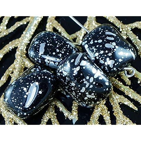 Nero Argento Macchiato di Vetro ceco Twisted Rettangolo Perline 17mm x 14mm 6pcs