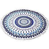 Zuoao Indian Mandala Toalla de Playa Redondo de Microfibra Multi-funcional Beach Towel Mantón Picnic para Yoga Colgar en la Pared Blanco y Azul