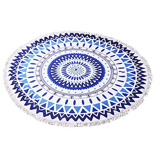 ZUOAO Toalla de Playa Redondo Microfibra Tapiz de Pared Indian Mandala, Manta Multi-funcional para Yoga/Gimnasio/Baño/Picnic/Decoración/Viaje, Blanco y Azul