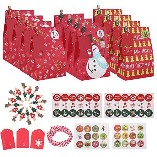 Ulikey 30 Pezzi Calendario dell'Avvento Fai-da-Te, Bustine Regalo Natale, Sacchettini Caramelle con 1-24 Adesivi numerici, per Bambini Natale Festa Compleanno