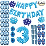 COTIGO - Globos Cumpleaños Happy Birthday #3 Color Azul, Año 3