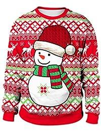 Sudadera Navidad Estampadas Sudaderas Navideñas Unisex Jersey Sueter  Navideño Hombre Mujer Reno Sweaters Pullover Cuello Redondo 1e21c2e644a2