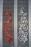 Scheibengardine mit Ranke 30 cm hoch | Breite der Gardine durch gekaufte Menge in 13,5 cm Schritten wählbar (Anfertigung nach Maß) | rot | Vorhang Küche Wohnzimmer