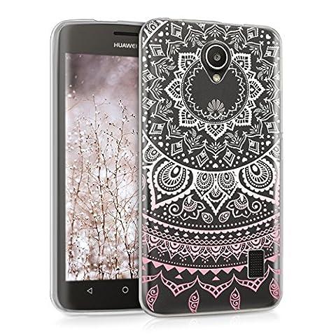 kwmobile Étui transparent en TPU silicone pour Huawei Ascend Y635 en rose clair blanc transparent Design soleil indien