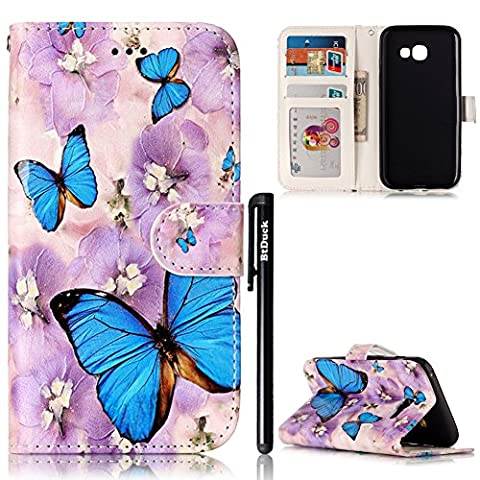 BtDuck Leather Case for Samsung Galaxy A3 2017 Embossed Blue Butterfly Cloudy Day Purple Lilies ( Vibrant ) Stand Painted pattern Phone Protector PU Leather Flip Folio Cover Anti-slip Skin Outdoor Protection Simple Strict Shockproof Heavy Duty Robust Bumper Case Shell with Stander Oyster Card ( Travel Card Bus Pass)Holder Slots Pocket Kickstand Function Magnetic Closure + 1 * Black Stylus Pen Black Look Up Put down the