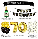 70th Birthday Party Pack – Black & Gold Happy Birthday Bunting, Poms, and Swirls Pack- Birthday Decorations – 70th Birthday Party Supplies